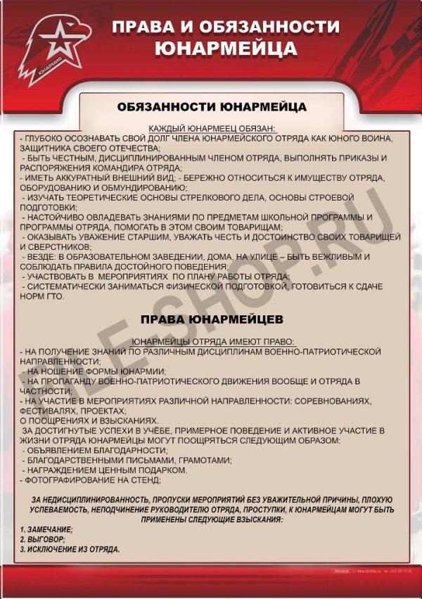 Права и обязанности юнармейца А4
